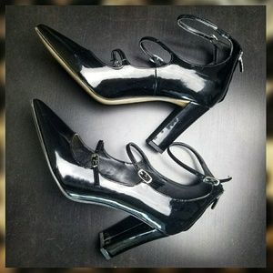 Marc Fisher Black Patent Heels with Straps 10W